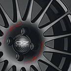 OZ SUPERTURISMO GT MB 7x17 4x108 ET48 Černý lak / červený nápis