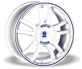 Sparco Rally (WB) 7,5x17 5x100 ET35 Bílý lesk / Modrý proužek