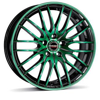 Borbet CW4 (BGG) 7x17 4x100 ET38 Zelená čelní plocha / Černý lak